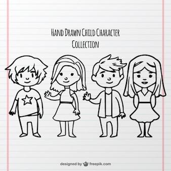 Quatro caracteres para o dia das crianças Vetor grátis