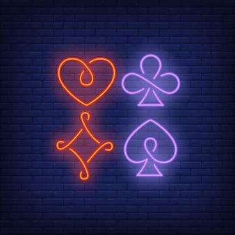 Quatro, cartão jogando, paleto, símbolos, sinal néon