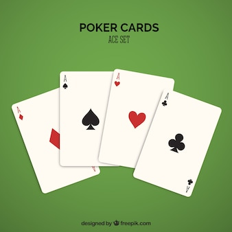 Quatro cartas de casino em vermelho e preto