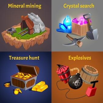 Quatro cartas quadradas com elementos e cenas do jogo de mineração
