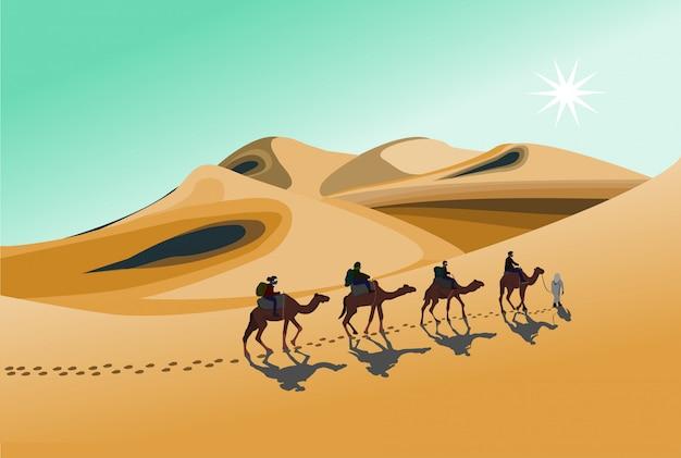 Quatro cavaleiros de camelo estão caminhando no sol quente no deserto