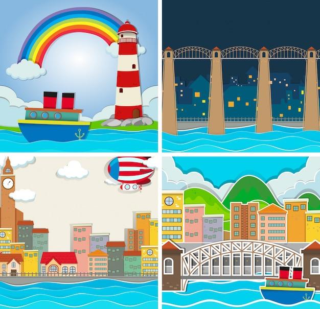 Quatro cenários de cidade e campo