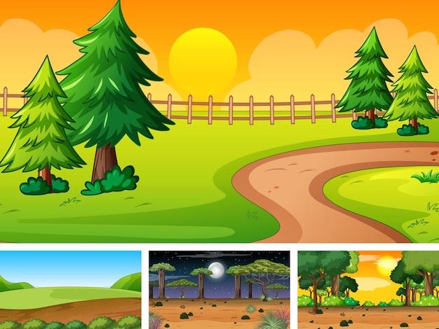 Quatro cenários diferentes de parque natural e floresta