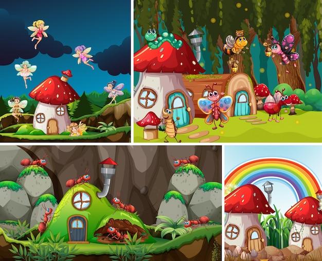Quatro cenários diferentes do mundo de fantasia com belas fadas no conto de fadas e formigas com formigas