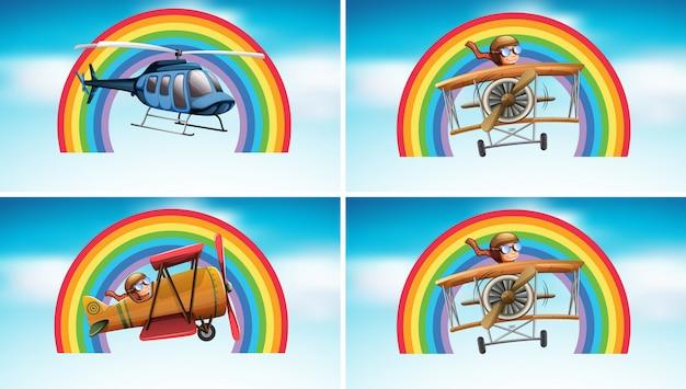 Quatro cenas com avião voando no céu