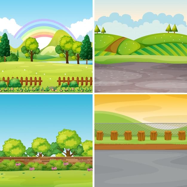 Quatro cenas com campo e montanhas