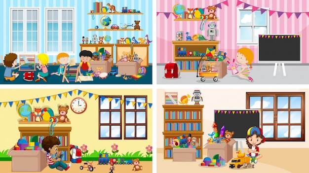 Quatro cenas com crianças brincando em salas diferentes