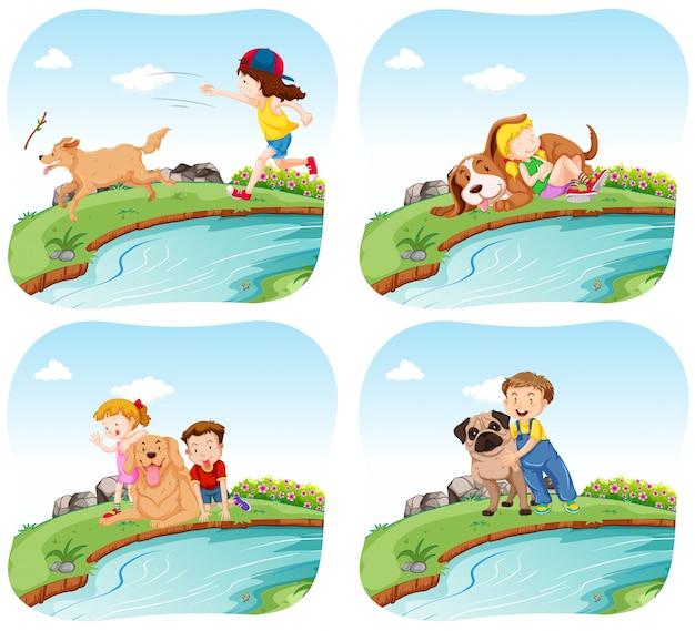 Quatro cenas com crianças e cachorros