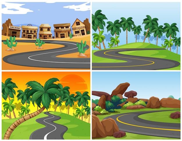 Quatro cenas com estradas vazias