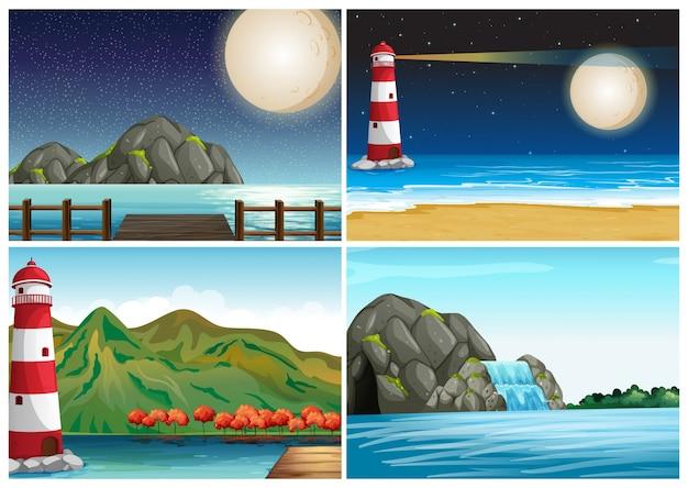 Quatro cenas com farol e ilustração do oceano