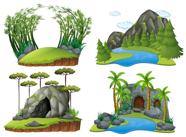 Quatro cenas com montanhas e árvores