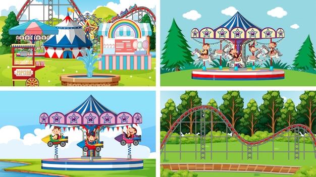 Quatro cenas com muitos passeios na feira de diversões