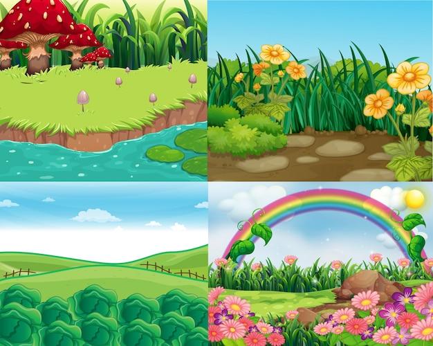 Quatro cenas com vegetais e flores