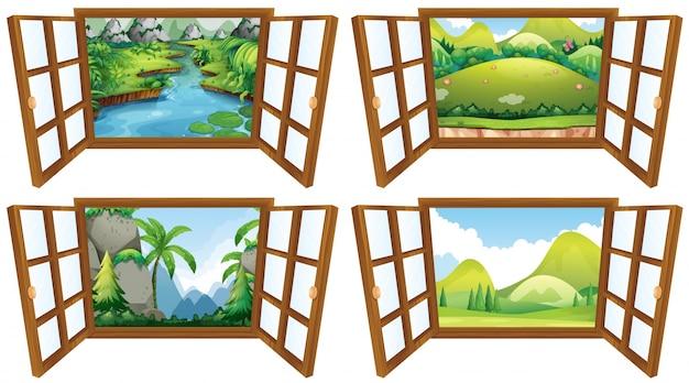 Quatro cenas da natureza da ilustração da janela