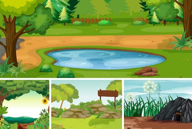 Quatro cenas da natureza diferentes de estilo de desenho animado de floresta e pântano