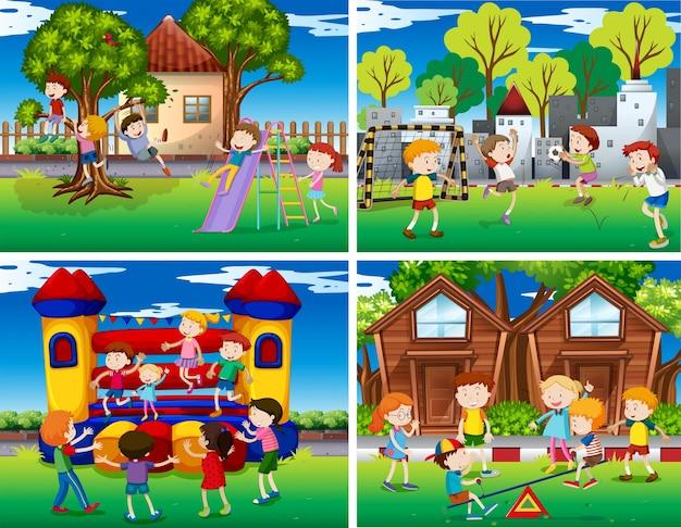 Quatro cenas de crianças brincando no parque