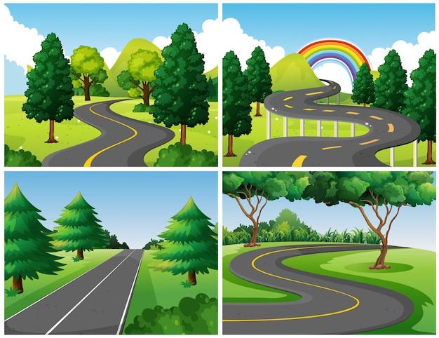 Quatro cenas de estradas no parque