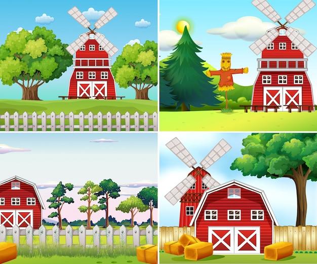 Quatro cenas de fazenda com moinhos de vento e celeiros