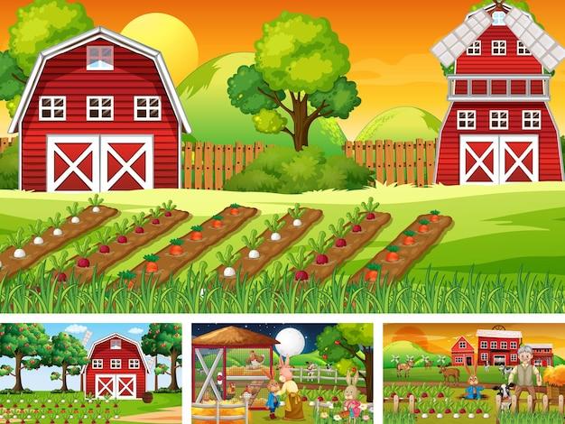 Quatro cenas de fazenda diferentes com animais