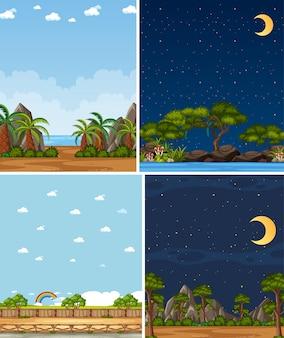 Quatro cenas de fundo diferentes da natureza com árvores verdes em épocas diferentes
