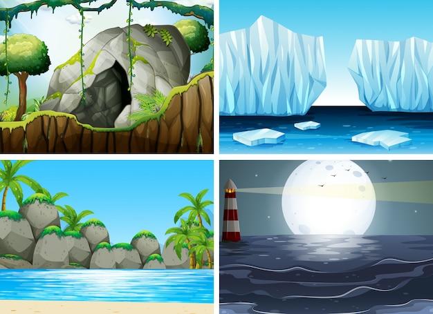 Quatro cenas diferentes com mar e moutain