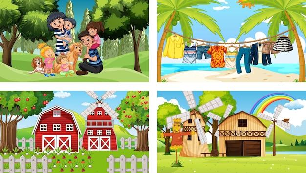 Quatro cenas diferentes com personagens de desenhos animados infantis