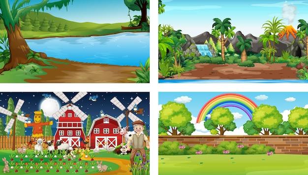 Quatro cenas diferentes com vários personagens de desenhos animados de animais