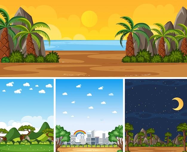 Quatro cenas diferentes da natureza com árvores verdes em épocas diferentes
