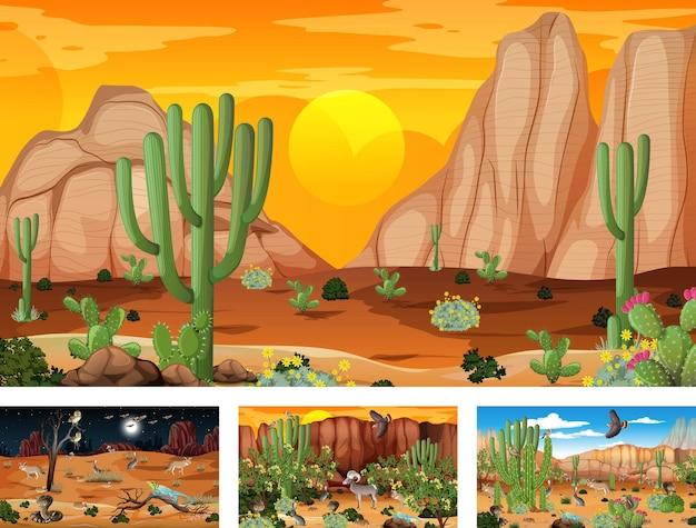 Quatro cenas diferentes da paisagem da floresta do deserto com animais e plantas