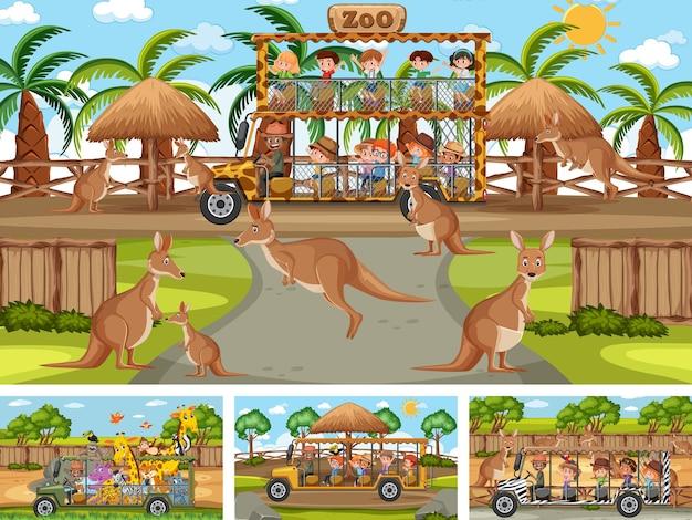 Quatro cenas diferentes de zoológico com crianças e animais