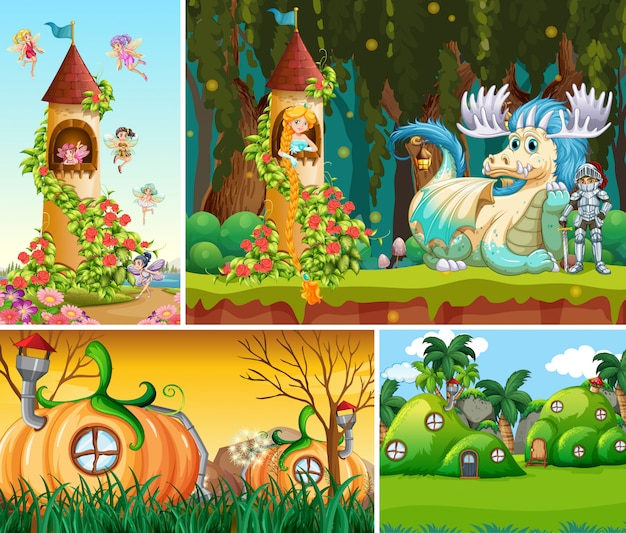 Quatro cenas diferentes do mundo de fantasia com belas fadas no conto de fadas e dragão com cavaleiro e vila de casa de abóbora