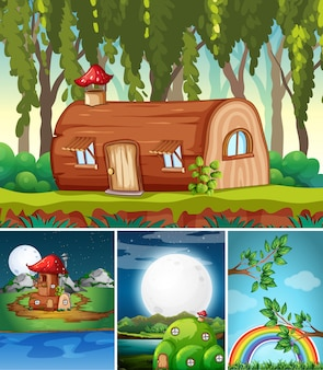 Quatro cenas diferentes do mundo de fantasia com lugares de fantasia, como casa de madeira
