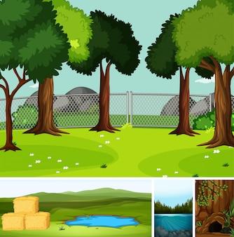 Quatro cenas diferentes na natureza, definindo o estilo cartoon