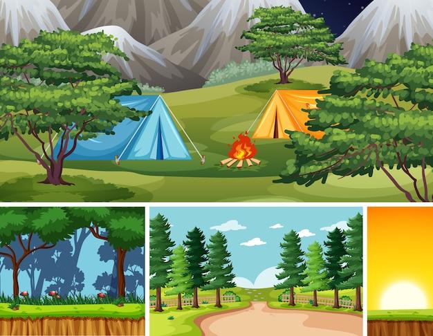 Quatro cenas diferentes no cenário da natureza