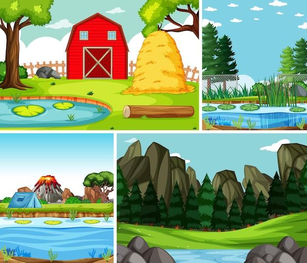 Quatro cenas diferentes no estilo cartoon da natureza