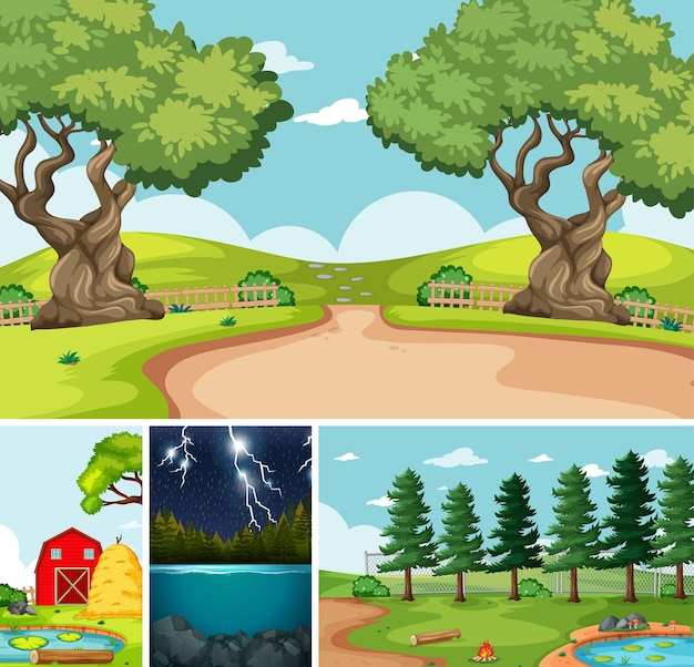 Quatro cenas diferentes no estilo desenho animado da natureza