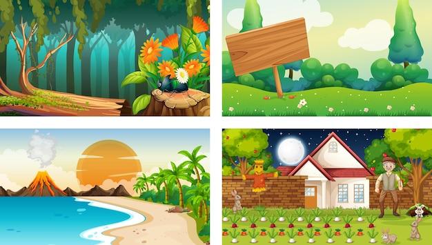 Quatro cenas horizontais de natureza diferente