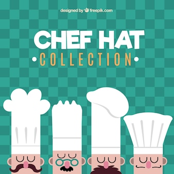 Quatro, chefs, diferente, chapéus
