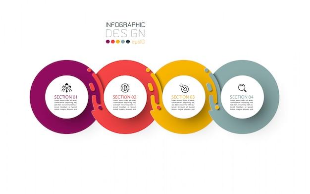 Quatro círculo harmonioso infográficos.