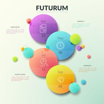 Quatro círculos multicoloridos separados com pictogramas de linha fina e indicação de data no interior.