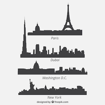 Quatro cityscape silhuetas colecção
