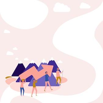 Quatro colegas ilustração escalada montanha segurando uma grande flecha para companheiros de equipe de sucesso carregando po ...