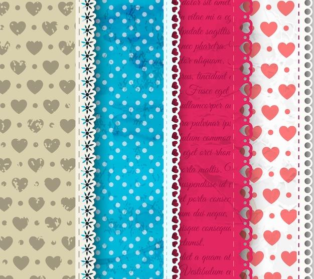 Quatro composição têxtil colorida com babados e ornamentos, pontos, corações e letras, ilustração vetorial