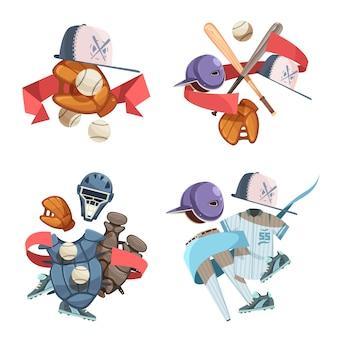 Quatro composições de ícones decorativos de inventário de beisebol em estilo retro com uniforme de luvas de luvas de capacete de morcego