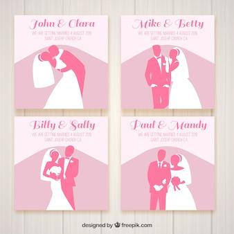 Quatro convites de casamento com silhuetas rosa