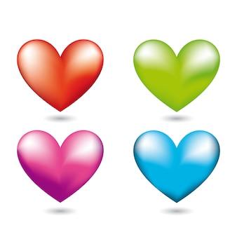 Quatro corações com sombra sobre ilustração vetorial de fundo branco