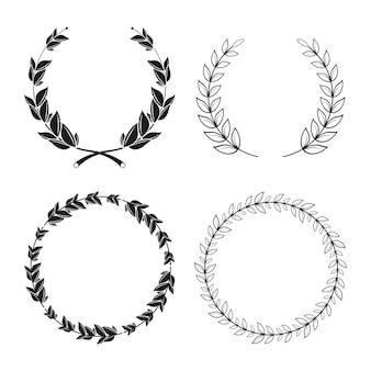 Quatro coroas de louros decorativas