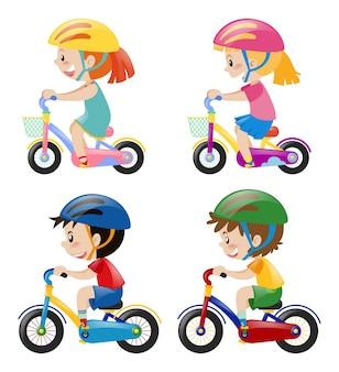 Quatro crianças andando de bicicleta no fundo branco