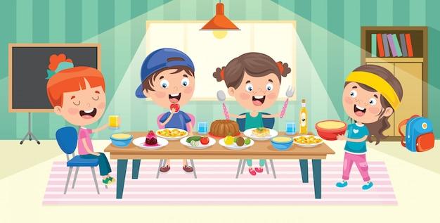 Quatro crianças comendo na cozinha