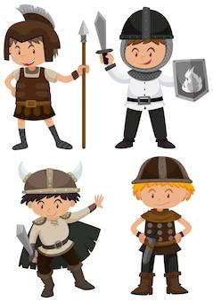 Quatro crianças, em, traje guerreiro